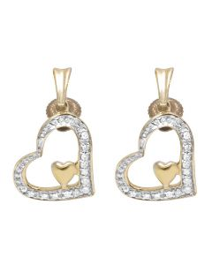 Ladies 10K Yellow Gold Real Diamond Heart Earring Dangles .10ct
