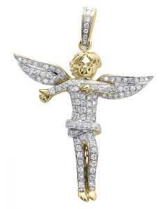 "Pave Diamond Angel 1.9"" Pendant in 10k Yellow Gold (1.25 ct)"