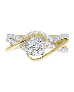14k Yellow Gold Solitaire Diamond Crossover Engagement Ring (0.95 ct)