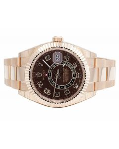 18k Rolex Sky Dweller 326935 Everose Gold 42MM Brown Dial