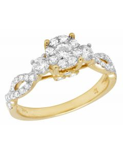 14K Yellow Gold Real Diamond 3 Stone Cluster Ring 0.79ct