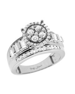 10K White Gold Baguette Real Diamond Ladies Engagement Ring 1.0ct