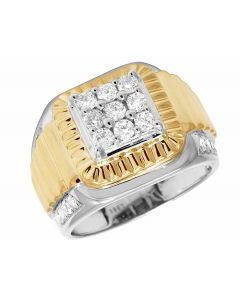 10K Two Tone Gold Real Diamond Square Pinky Ring 1.25ct 15MM