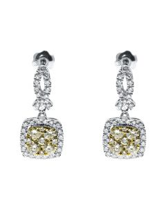 Yellow & White Diamond Dangle Earrings in 14k (1.28ct)