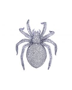 "White Gold Diamond Spider Pendant 2""7.5CT"