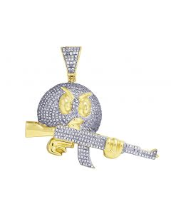 Yellow Gold Angry Bird With Gun Diamond Pendant 1.15 CT