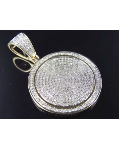10K Yellow Gold Genuine Diamond Micro Pave Disc Pendant (.95ct) 1.25""