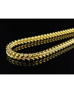 Men's 10k Yellow Gold Franco Box Cuban Chain 3.5MM 24-40 inches