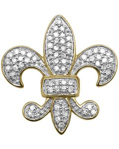 10k Yellow Gold Diamond Fleur De Lis Pendant Charm (0.35 ct)