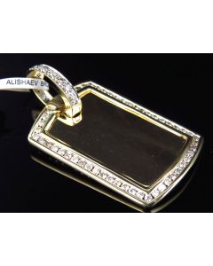 Genuine Diamond Dog tag Pendant in 10K Yellow Gold (1 Ct)
