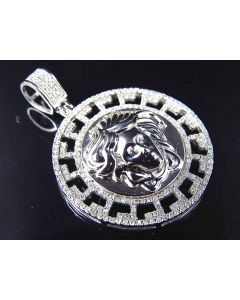 10K White Gold Genuine Diamond Greek Bezel Medusa Medallion Pendant (.65ct) 1.25""