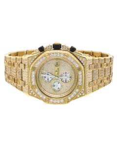 Mens Jewelry Unlimited Yellow Gold Simulated Diamond Watch 43MM