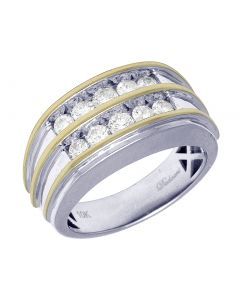 Mens Two Tone Gold Channel Set Diamond Ring 12 MM 1.05 CT