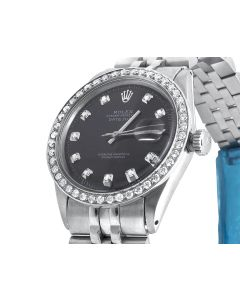 Rolex Datejust Jubilee Stainless Steel with Black Dial Diamond Watch (2.15 Ct)