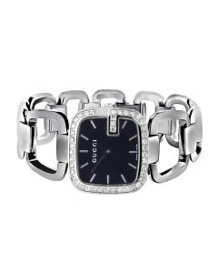 G-Gucci YA125407 Black Dial Swiss Made Diamond Dress Watch (2.0ct.)