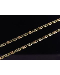 Solid 10K Tri-Tone Gold Valentino 2.5MM 16-24 Inch Chain Necklace