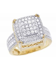 Men's 10K Yellow Gold Real Diamond Square Pinky Ring 1.42 CT 15MM