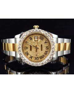 Rolex Datejust II Two Tone Watch w/ Custom Set Diamonds (9 ct)