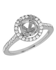 14K White Gold Halo Semi Mount Engagement Ring 1.52ct