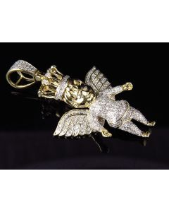 10K Yellow Gold Crowned Angel Cherub Diamond Pendant 2 inch (1.0ct.)