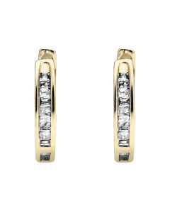 10K Yellow Gold Invisible Set One Row Baguette Diamond Hoop Earring 0.15ct.