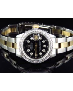 Rolex Datejust 18k Two Tone Oyster 69173 Diamond Watch (2.5 ct)