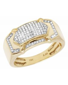 Men's 10k Yellow Gold Genuine Diamond 11MM Pave Fashion Puff Ring (3/8 Ct)
