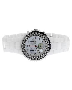 Mens Ladies Aqua Master 1.25ct Diamond White Ceramic 40mm Watch W#115
