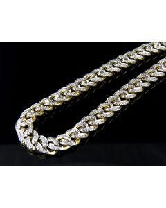 Men's Solid Miami Cuban Real Diamond Chain Necklace 8MM 5.0 Ct