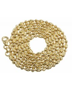 Solid 10K Yellow Gold Rice Typhoon Moon CutChain 2MM 16-24 Inches