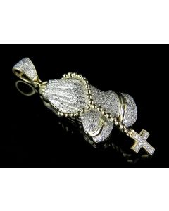 10K Yellow Gold Real Diamond Praying Hand Rosary Pendant 1.0ct 2""