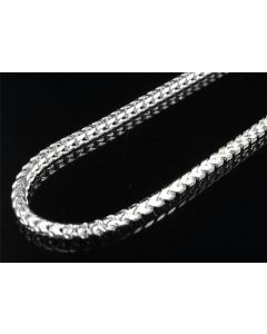 .925 Sterling Silver White Finish Franco Box Chain 6mm
