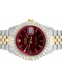 Rolex 18K/Steel Datejust Two Tone 36MM Red Dial Diamond Watch 3.5 Ct