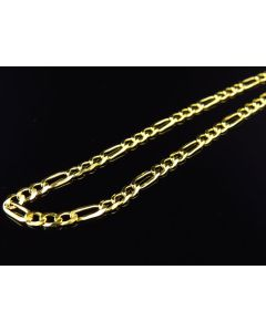 "Yellow Gold Finished 3MM Figaro Link Chain Necklace 18""-28"""