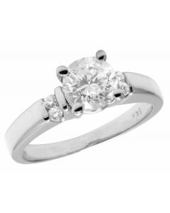 14K White Gold Genuine Diamond Ladies Solitaire Engagement Ring 0.56CT