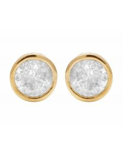 Unisex 14K Yellow Gold Real Diamond Solitaire Bezel Studs Earring 0.50ct