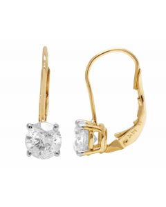 14K Yellow Gold Genuine Diamond Solitaire LeverBack Earrings 2.0ct