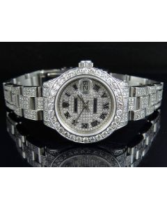 Ladies Rolex Datejust 26MM Stainless Steel Diamond Watch (9.75 Ct)