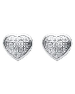 Diamond Puffed Heart Earrings in White Gold Finish (0.25 ct)