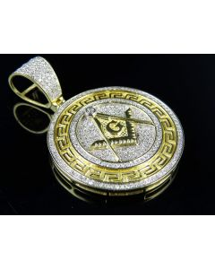 "10K Yellow Gold Masonic Medallion Genuine Diamond Pendant 1.65"" 1.20Ct"