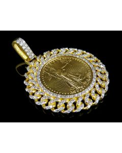 24K Solid Yellow Gold Coin Lady Liberty Quarter Ounce Pendant 2 ct.