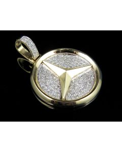 10K Yellow Gold Mercedes Medallion Diamond Pendant 1.0ct