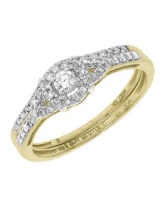10k Yellow Gold Round Diamond Halo Solitaire Bridal Ring Set (0.33 ct)
