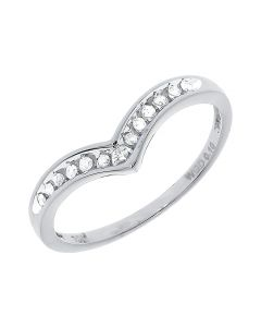 Womens Chevron Engagement Ring Enhancer Band in White Gold (0.10 ct)
