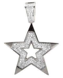 10K White Gold Five Point Star Religious Diamond Pendant Charm (0.75ct.)