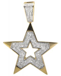 10K Yellow Gold Five Point Star Religious Diamond Pendant Charm (0.75ct.)
