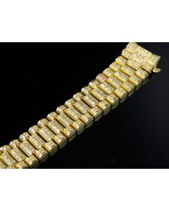 18K Ladies Yellow Gold President Diamond Band for Rolex 13 MM Lug Size 5.5 Ct