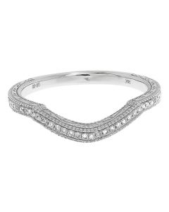 Hand Carved Enhancer Wedding Band in White Gold (0.08 ct)