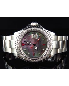 Rolex Yachtmaster Stainless Steel Platinum Diamond Watch (3.5 Ct)
