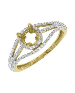 14k Yellow Gold Round Diamond Solitaire Semi Mount Engagement Ring (0.35 ct)